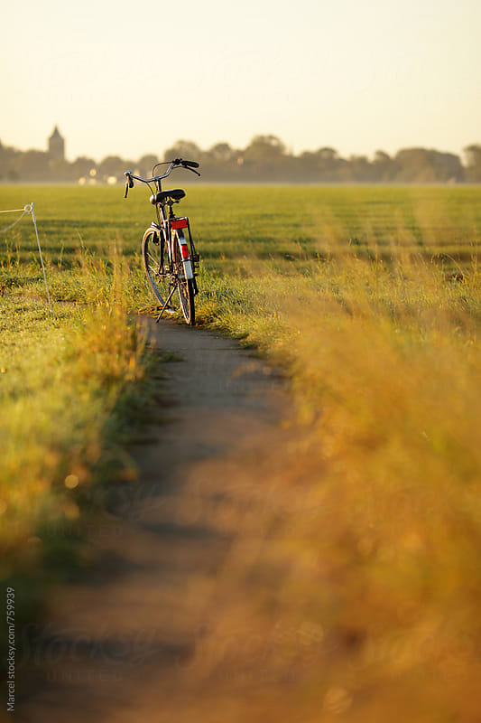 Bicycle parked on rural bikelane in The Netherlands by Marcel for Stocksy United