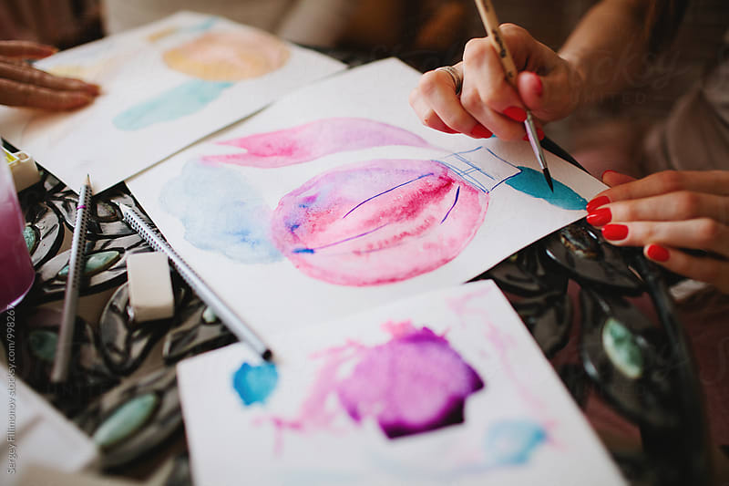 girl draws a balloon watercolor by Sergey Filimonov for Stocksy United