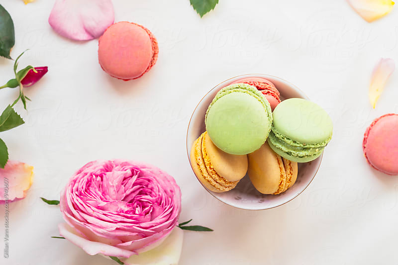 colorful macarons with roses and petals by Gillian Vann for Stocksy United
