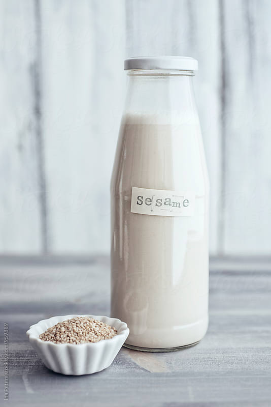 Food: Vegan Sesame Milk (with dates) by Ina Peters for Stocksy United