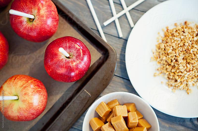 Apples: Overhead View of Caramel Apple Ingredients by Sean Locke for Stocksy United