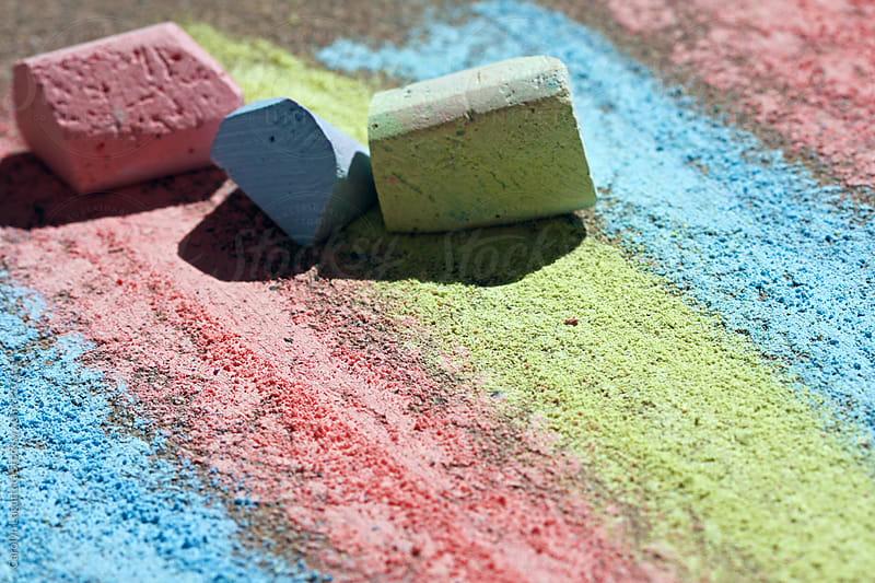 Close up of sidewalk chalk by Carolyn Lagattuta for Stocksy United