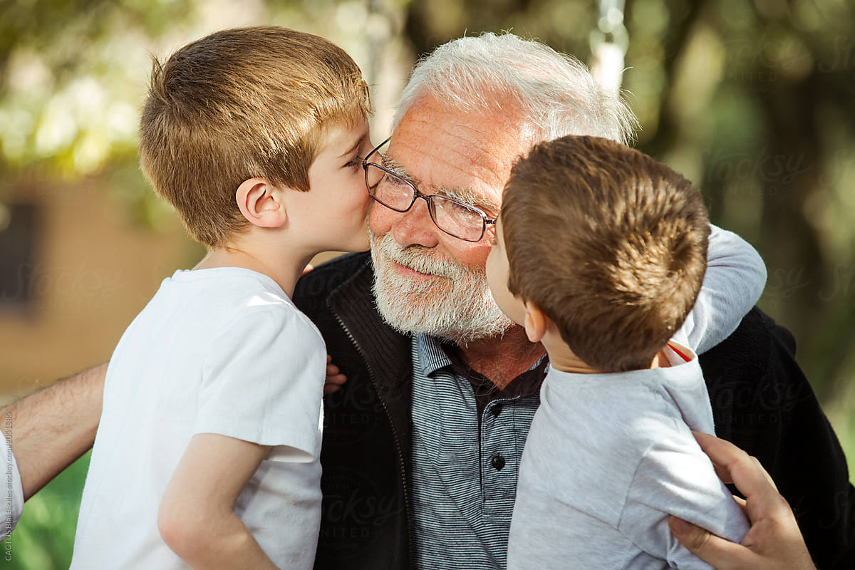 Nephew Kissing His Grandfather by CACTUS Creative Studio - Grandfather, Nephew