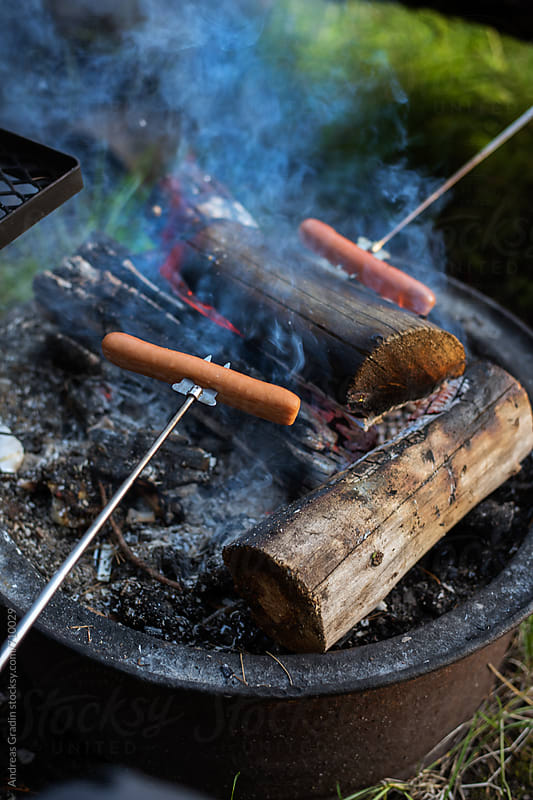 camp fire hot dogs by Andreas Gradin for Stocksy United