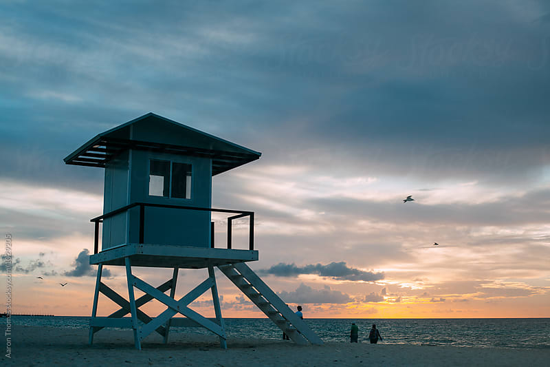 Lifeguard stand on the Beach by Aaron Thomas for Stocksy United