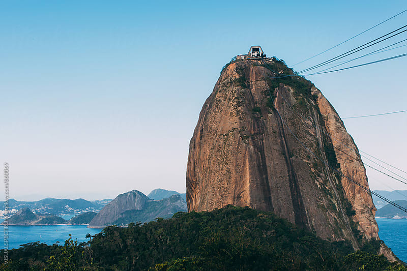 Brazil - Rio de Janeiro's Sugarloaf  with Cable Car by VISUALSPECTRUM for Stocksy United