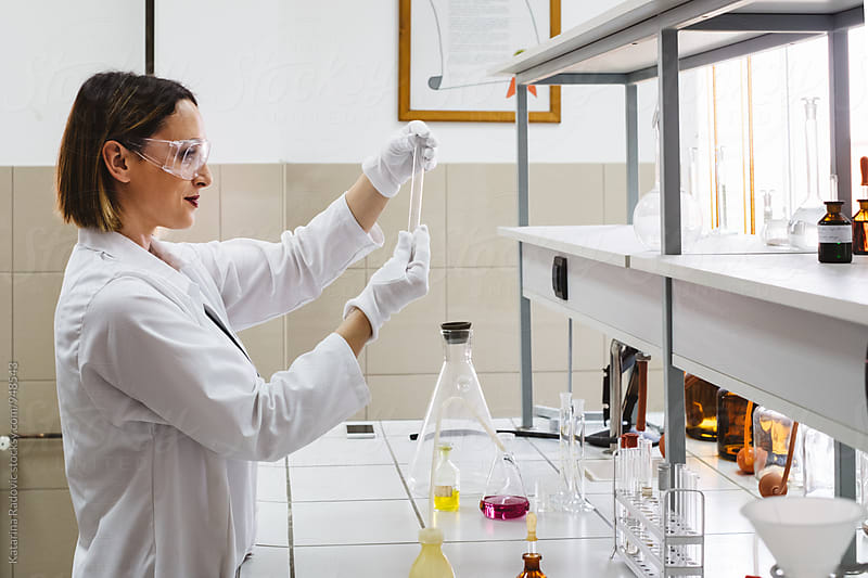 Beautiful Female Chemist Working in the Lab by Katarina Radovic for Stocksy United