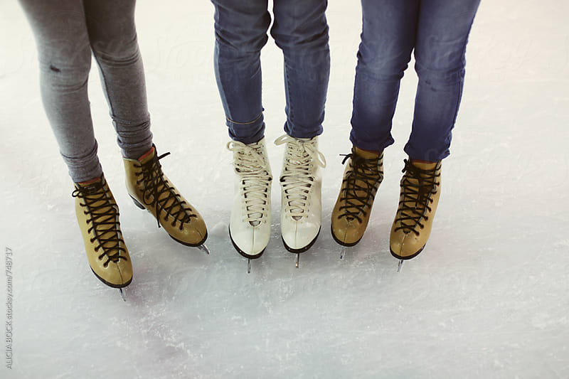 Three Girl Friends Ready To Go Ice Skating by ALICIA BOCK for Stocksy United