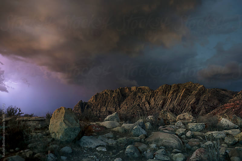 Midnight storm over Red Rock Canyon by Rachel Bellinsky for Stocksy United