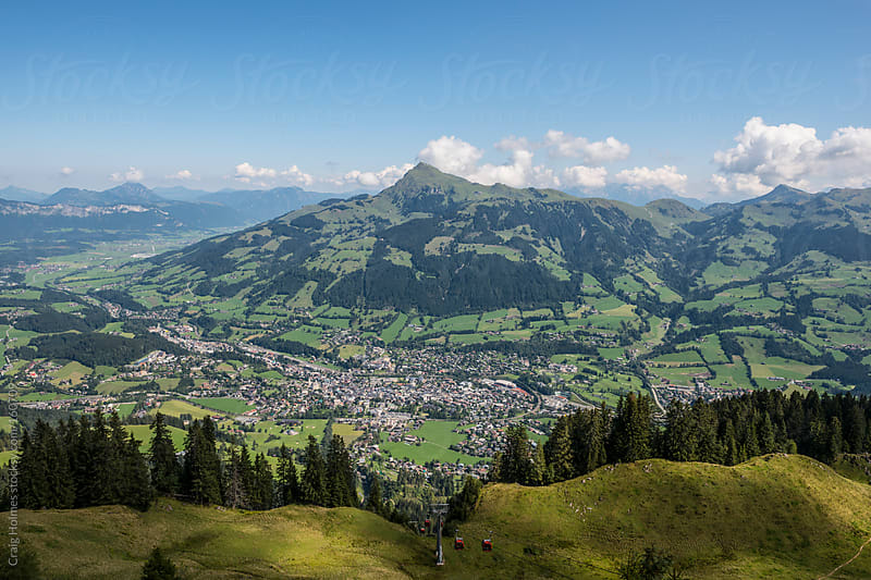 Views from the mountains over Kitzbühel, Austria by Craig Holmes for Stocksy United