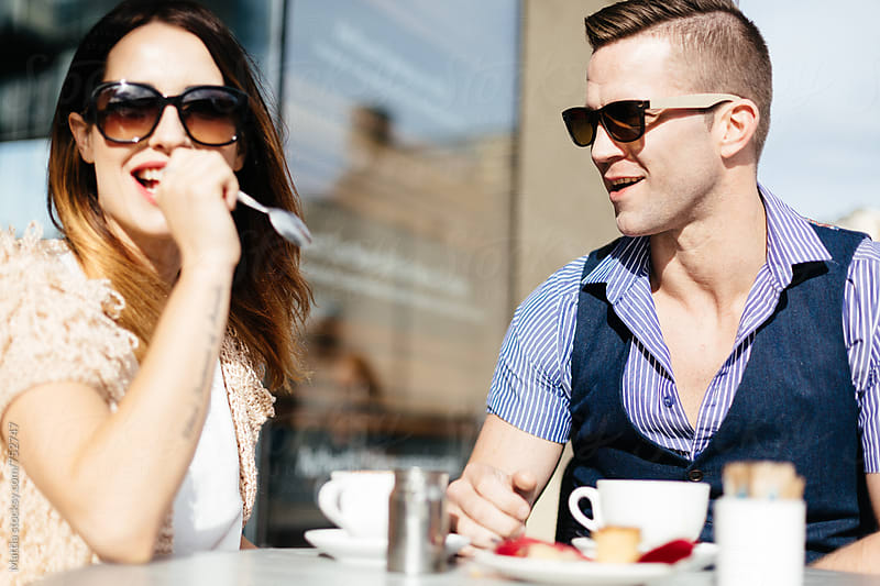 Couple Dating in a Coffee Shop by HEX. for Stocksy United