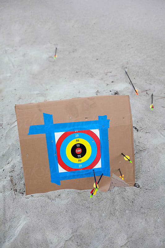 Target used when shooting with a bow and arrow by Carolyn Lagattuta for Stocksy United