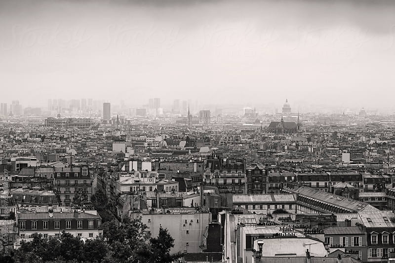 Black and White Panorama of Paris as Seen from Montmartre on a Foggy Day by Tom Uhlenberg for Stocksy United