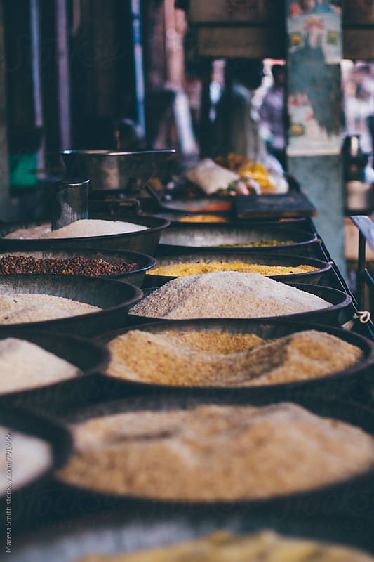 Spices at a dusty market in Rajasthan by Maresa Smith for Stocksy United