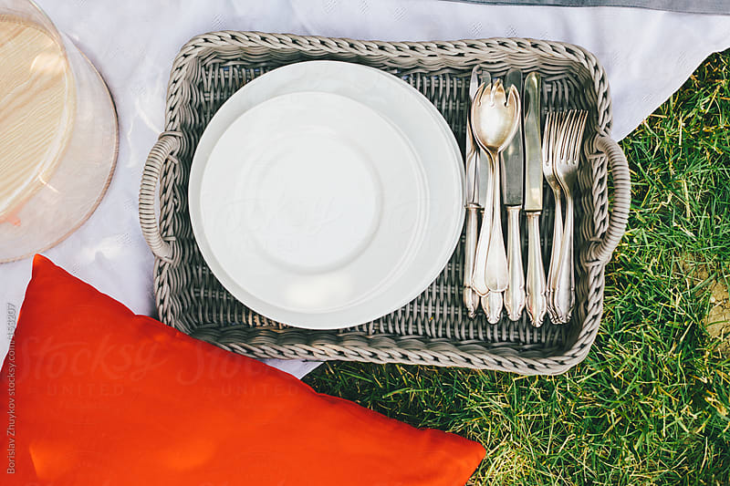 Tableware on green lawn with red decorative accents. by Borislav Zhuykov for Stocksy United