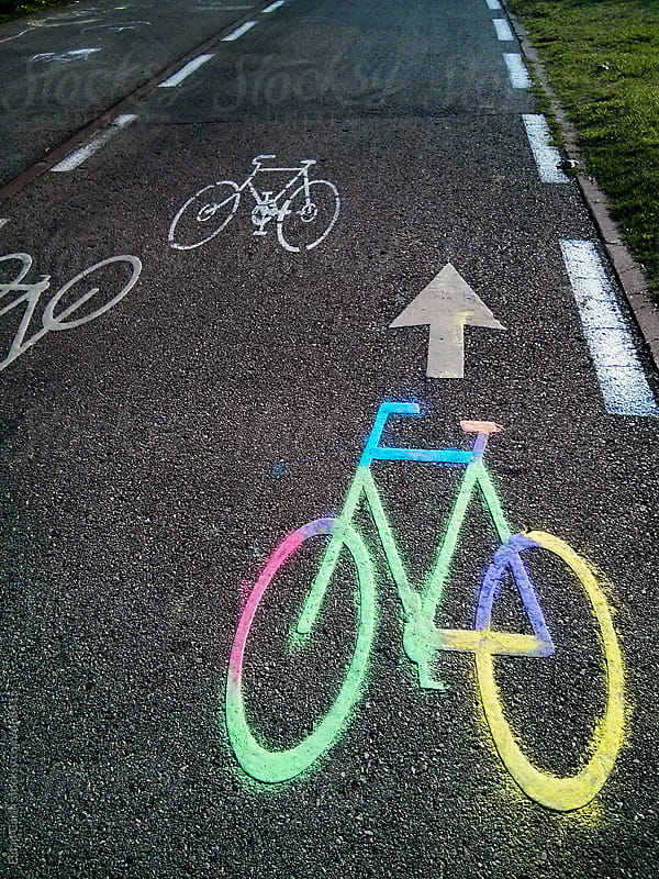 Colorful Bicycle Lane Sign by Eldad Carin for Stocksy United