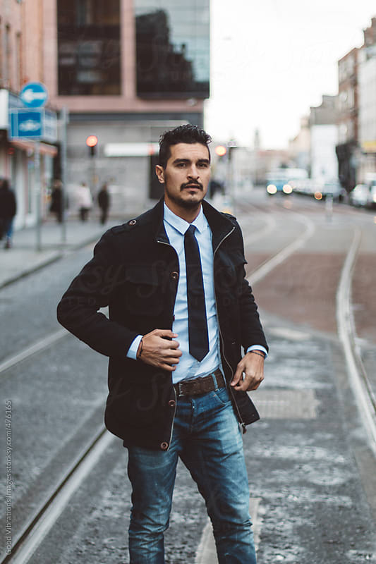 Handsome businessman in the city by Good Vibrations Images for Stocksy United