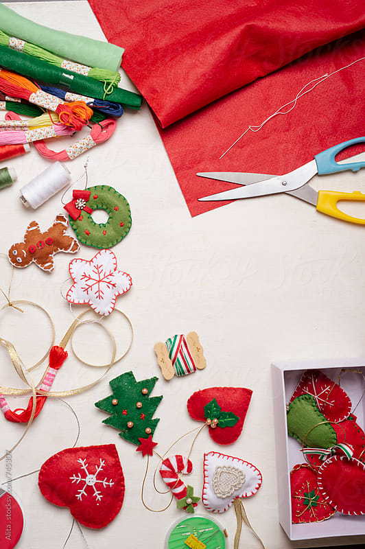 Making Christmas ornaments by Alita Ong for Stocksy United