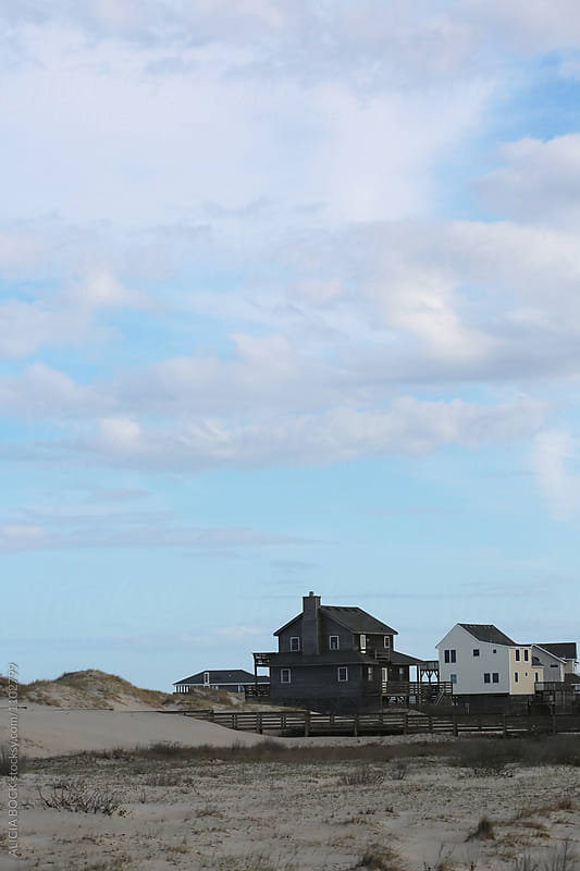 Looking At Beach Houses In The Sand Dunes Of North Carolina by ALICIA BOCK for Stocksy United