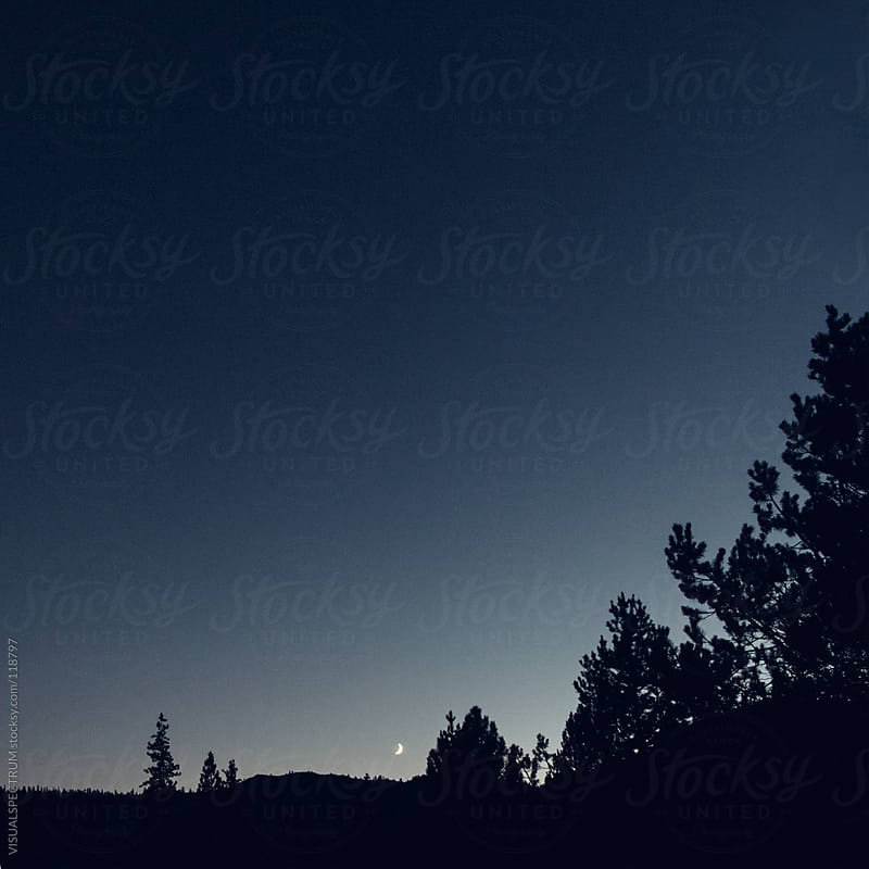 Night Sky With Moon Crescent by VISUALSPECTRUM for Stocksy United