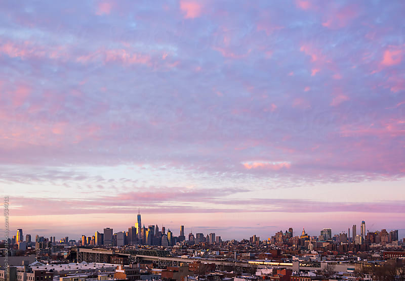 Manhattan skyline and twilight sky  by yuko hirao for Stocksy United