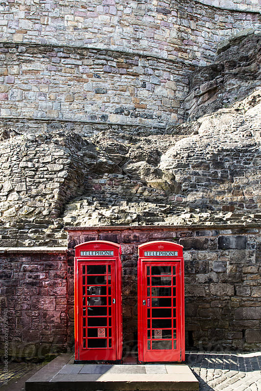 British phone boxes at Edinburgh Castle by Ruth Black for Stocksy United