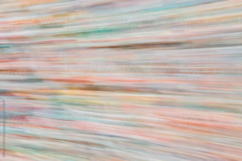 Abstract motion blur of horizontal lines of Seattle's Gum Wall by Mihael Blikshteyn for Stocksy United