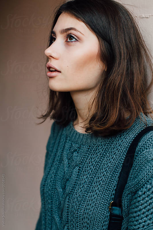 Pretty woman street closeup by Viktor Solomin for Stocksy United