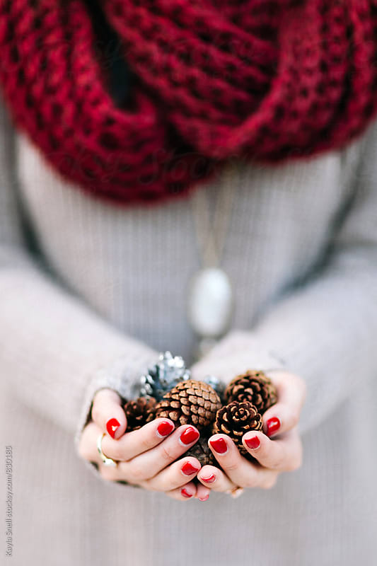 Woman holding pinecones by Kayla Snell for Stocksy United