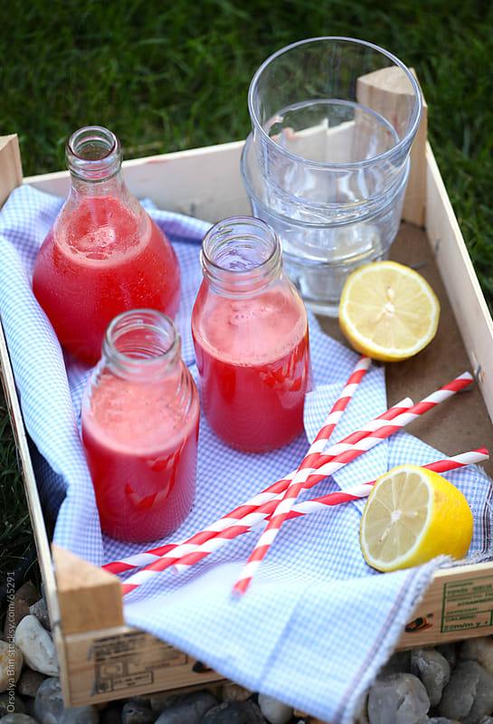 Fresh raspberry lemonade by Orsolya Bán for Stocksy United