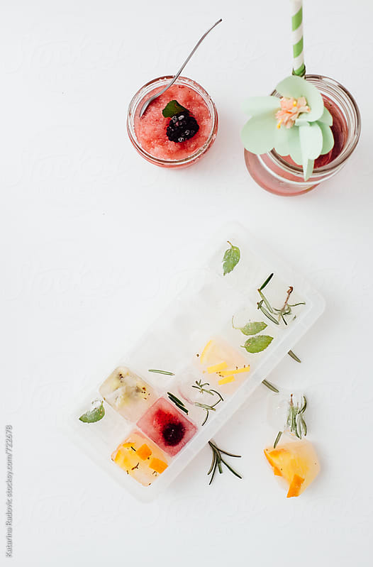 Fruity Ice Cubes and Rose Ice Tea by Katarina Radovic for Stocksy United