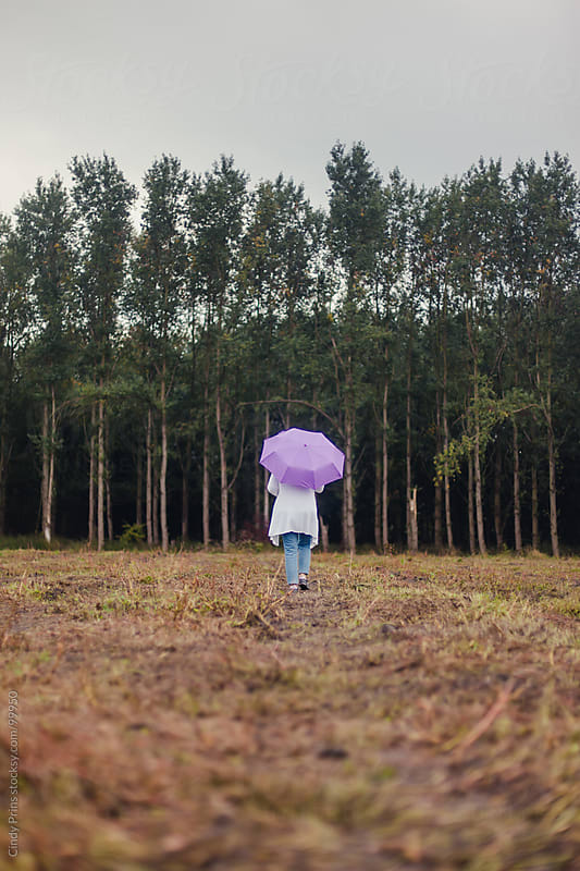 Woman from the back holding a purple umbrella walking in a field towards trees by Cindy Prins for Stocksy United