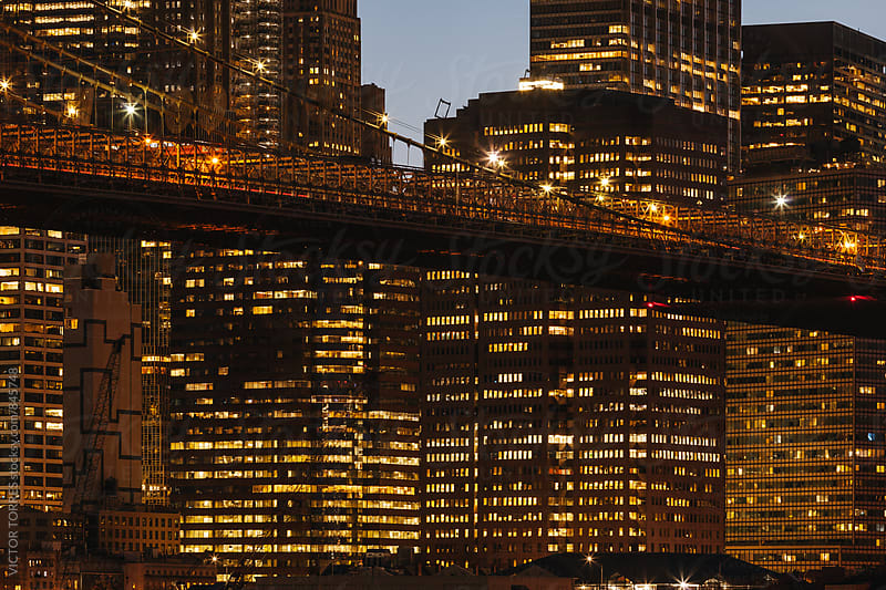 Detail of Brooklyn Bridge at Night, New York by VICTOR TORRES for Stocksy United
