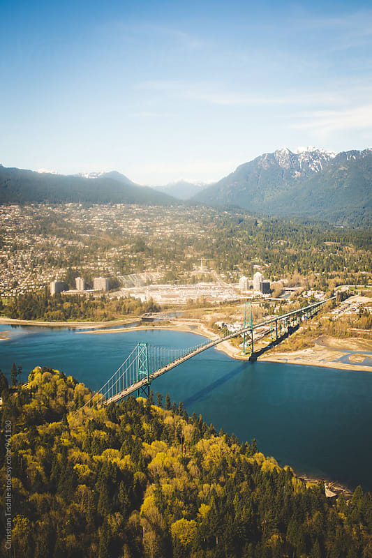 Aerial view of Vancouver and Stanley Park by Christian Tisdale for Stocksy United