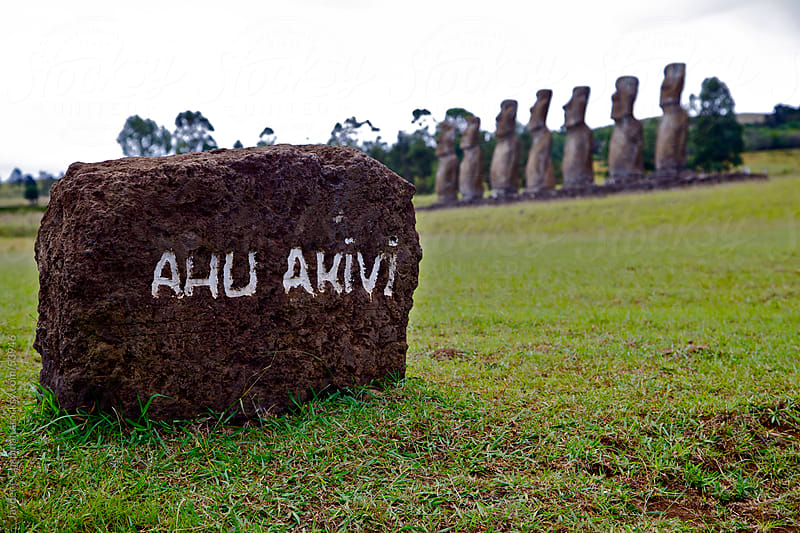 Ahu Akivi, moai statue site, National park, Easter Island, Chile  by Jaydene Chapman for Stocksy United