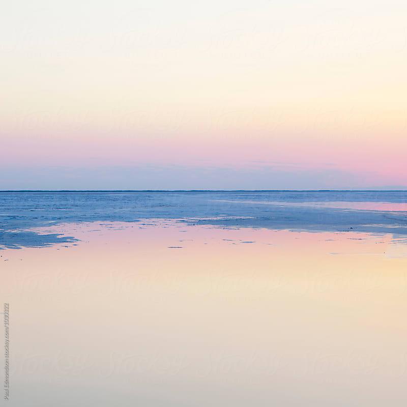 Flooded Bonneville Salt Flats at dawn, near Wendover, UT by Paul Edmondson for Stocksy United
