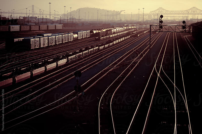 Oakland train tracks at sunset by Thomas Hawk for Stocksy United