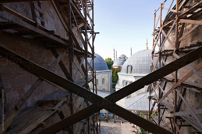 View of the Blue Mosque from Santa Sofia Mosque, Istanbul by Jon Rodriguez for Stocksy United