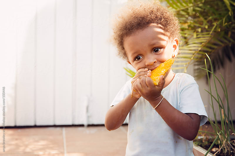 Toddler with curly brown hair eating ripe mango by anya brewley schultheiss for Stocksy United