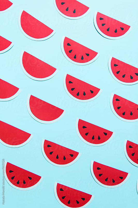 Handmade watermelon paper pattern by Nataša Mandić for Stocksy United