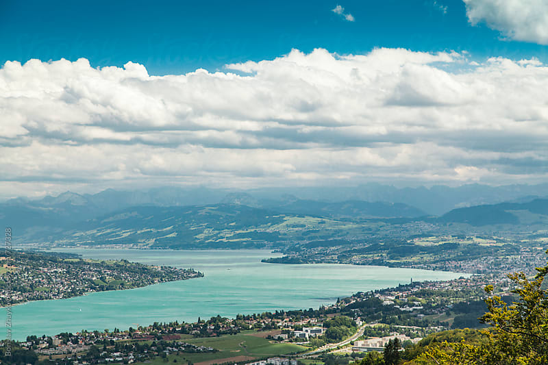 Scenic View From Uetliberg with lake Zurich and mountains by Borislav Zhuykov for Stocksy United