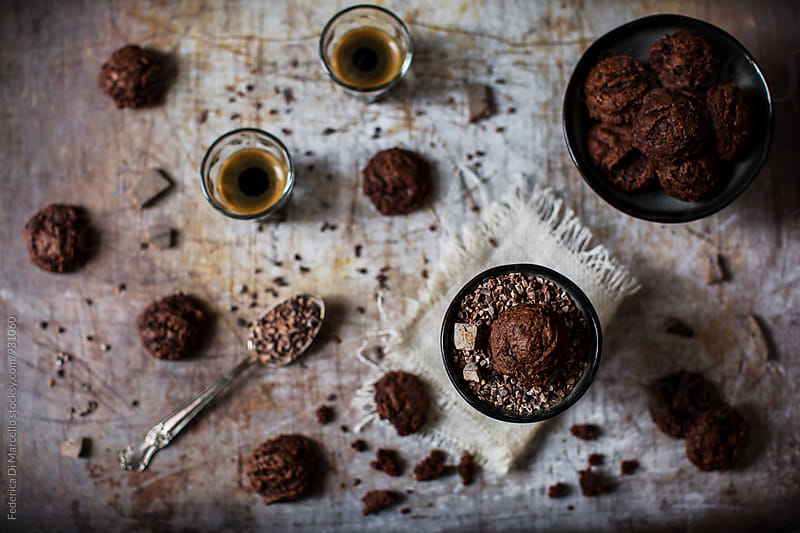 Chocolate cookies with cocoa nibs by Federica Di Marcello for Stocksy United