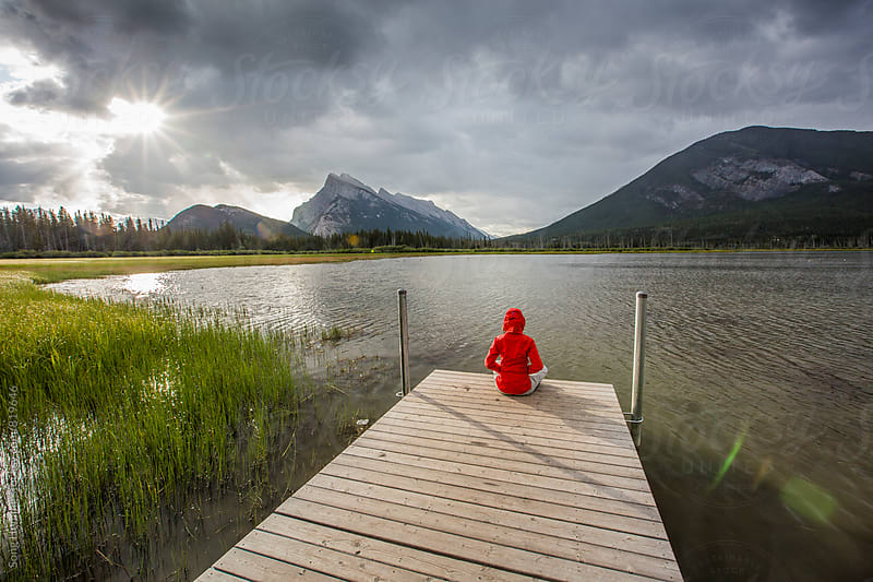 traveller at vermillion lake by Song Heming for Stocksy United