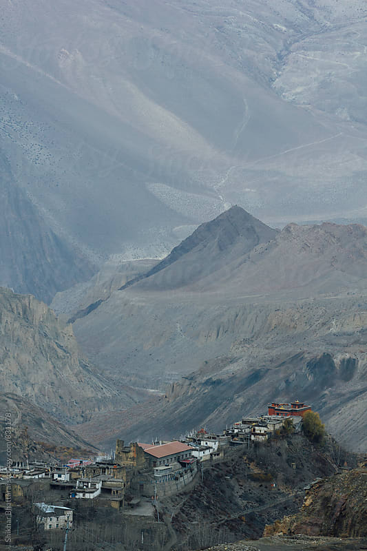 Village of Jharkot in Mustang Region of Nepal perched atop a hill. by Shikhar Bhattarai for Stocksy United