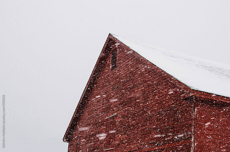 red barn with snow by Deirdre Malfatto for Stocksy United