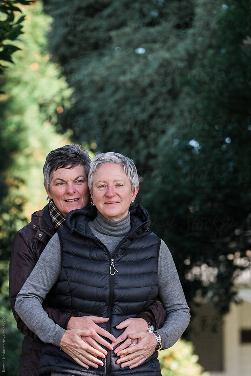 Mature Lesbian Couple Embracing By Rowena Naylor For Stocksy United