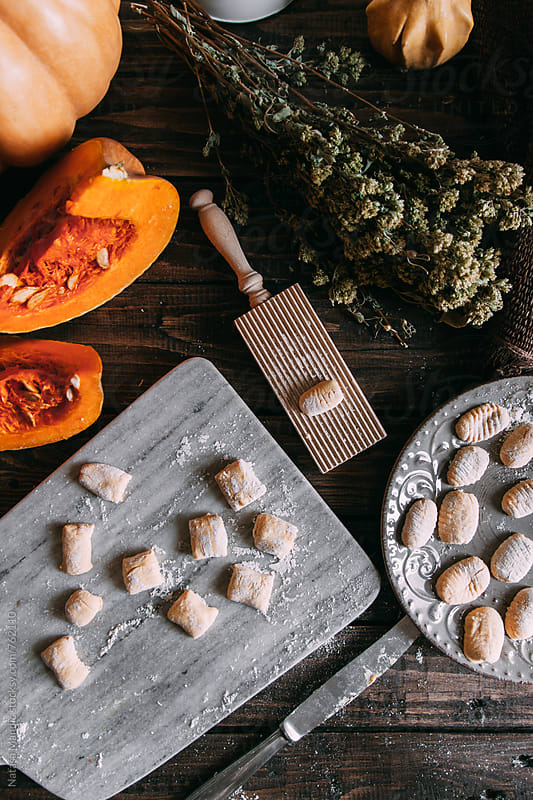 Pumpkin homemade gnocchi by Nataša Mandić for Stocksy United