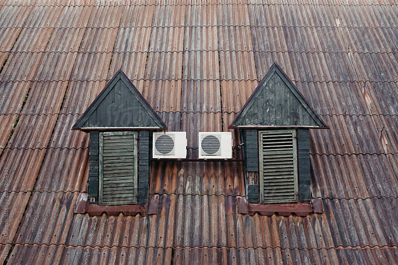 Old Mountain House Roof Windows With Air Conditioning by Nemanja Glumac for Stocksy United