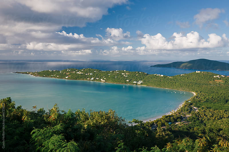 West Indies, Caribbean, Lesser Antilles, Leeward Islands, US Virgin Islands, St. Thomas, elevated view over the world famous beach at Magens Bay by Gavin Hellier for Stocksy United