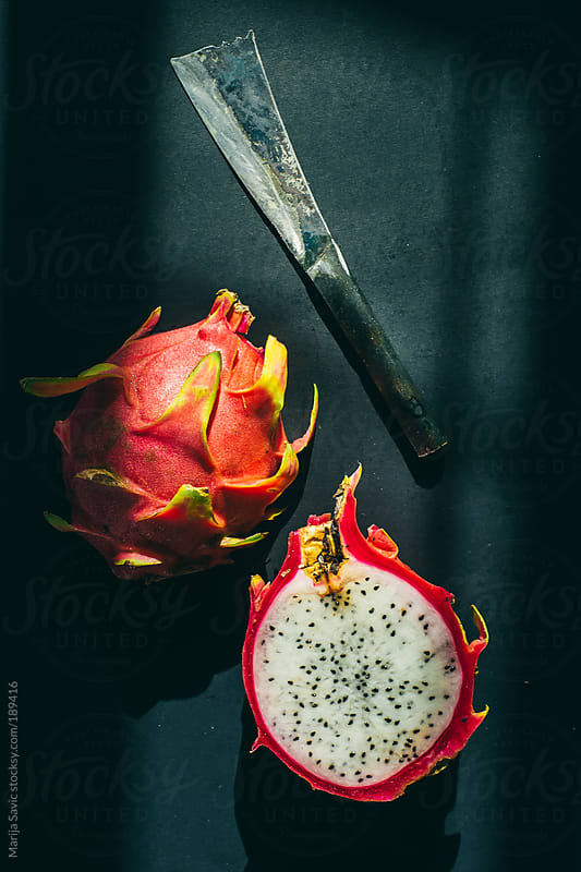 Dragon Fruit on Dark Background by Marija Savic for Stocksy United